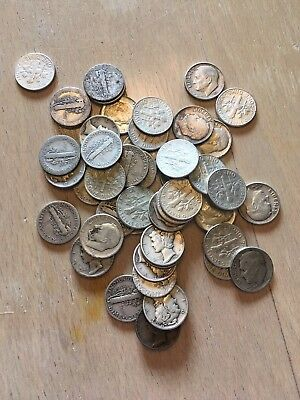 One Roll of 50 Silver Dimes, Mixed Dates 90% Silver
