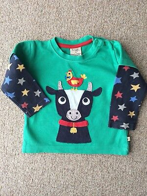 Frugi Cow Long Sleeved Top 6-12 Months
