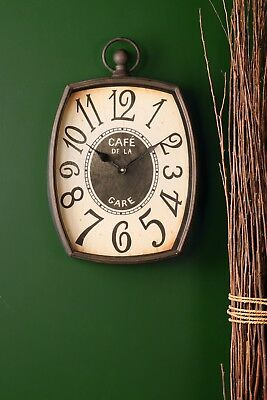 Wall Clock French Vintage Cast Iron Glass Oval Shape Rustic Antique Style