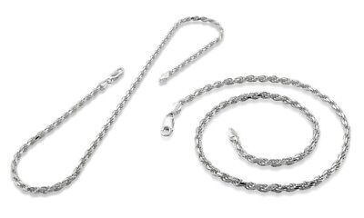 """Sterling Silver 1.8mm ROPE Chain Necklace 925 Italy 16, 18, 20, 22, 24, 30"""" NEW"""