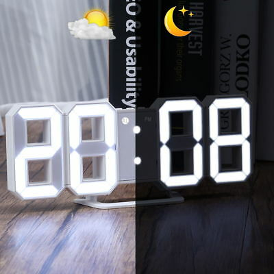 Digital Alarm Clock Snooze 3D Large LED Display USB Charge 3 Light 12/24 Clocks