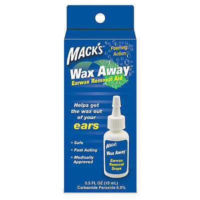 Mack's Wax Away Earwax Removal Aid Ear Drops MACKS Foaming Loosen Remove Earwax