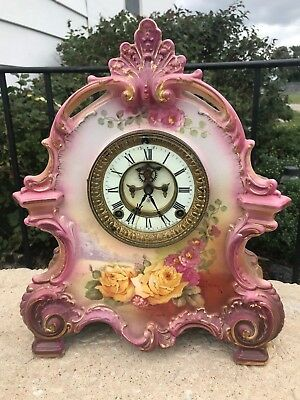 "Look!!! Grandma's Ansonia Clock Royal Bonn ""La Bretagne"" Working Antique NR"