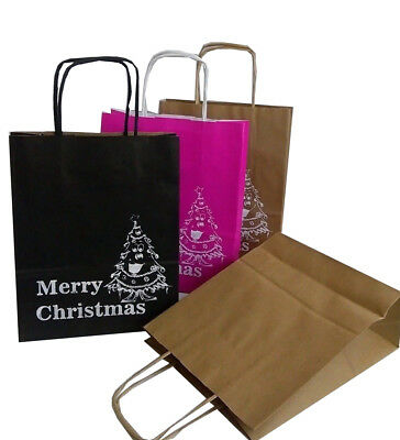 Merry Christmas,Printed Paper Gift Bags or Clean,Manilla,Black,Pink 18x8x21cm