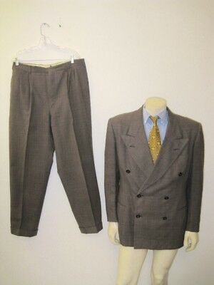 Vintage Brenk Bros 1940s Double Breasted Gangster Suit DISTRESSED Size MEDIUM