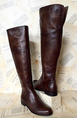 443f1f51b9b NIB Anthropologie Miss Albright Brown Antiqued Leather Over The Knee Boots  39