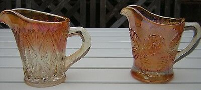 Two Vintage Marigold Carnival Glass Creamers / Milk Jugs