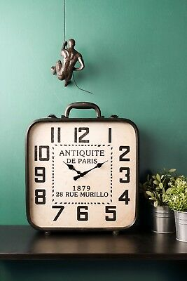 Mantle Standing Suitcase Clock French Vintage Antique Style Paris Iron Glass