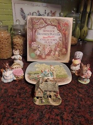 Beswick beatrix potter figures bp2 gold 4 figures plate with box hill top farm