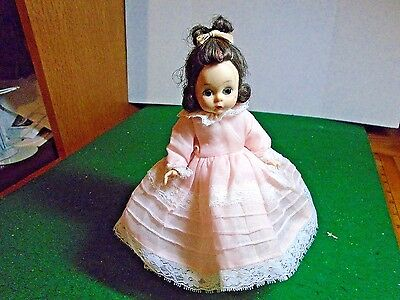 Vintage Madame Alexander Alexander-kins 7.5 inch doll BKW  in Pink Dress
