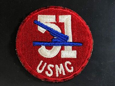 WWII Patch USMC Marines 51st Defense Battalion US Navy Ship Cut Edge