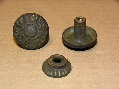 (2) Antique Solid Brass Drawer Pulls / Knobs -- Original Screws Included