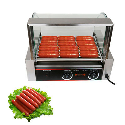 24 Hotdog 9 Roller Commercial Hot Dog Grill Cooker Machine W/Glass Cover CE