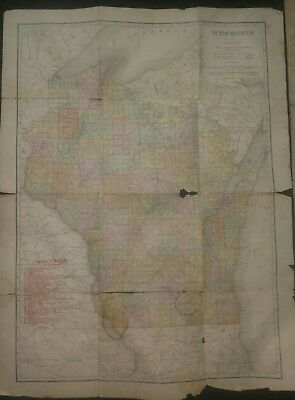 1910 Rand McNally Map - Wisconsin - with Wisconsin Railroads