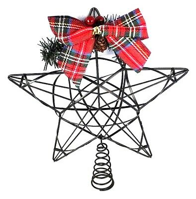 Rustic Country Christmas Star Tree Topper 8 in. Wire Metal Plaid Holiday NIB