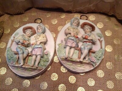 Lovely Pair Of Antique Bisque Figural Wall Plaques Numbered At art Label Japan