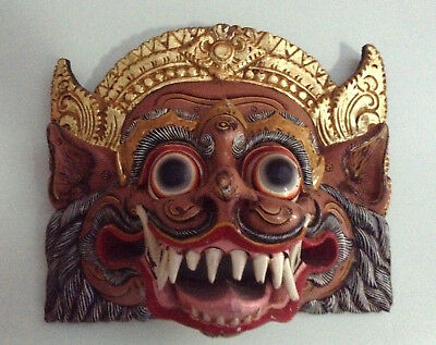 Antique Vintage Wood Asian Mask, Multi Painted Art, fine wall decor panel, 14 in