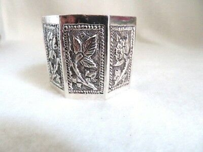 Silver Plate Napkin Ring 8 Sided with Embossed Flowers on each panel side