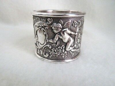 Silver Plate Napkin Ring Cherubs & Foliage Late 19th-early 20th