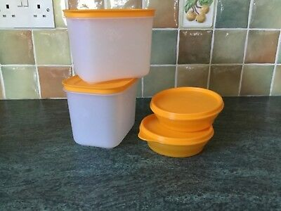 Tupperware Sunshine Yellow - Two Containers + Two Bowls - All With Lids