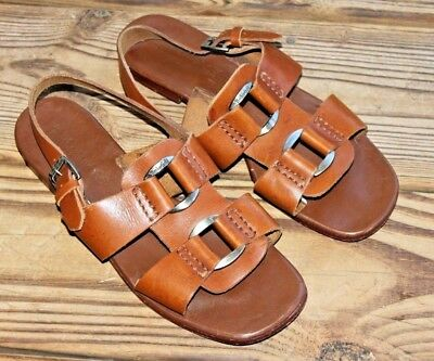 34e2d3a213d32 Timberland Size 7 M Women s Brown Leather Sandals Ankle Strap w Hardware