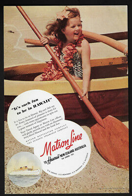 1941 Vintage Print Ad 40's MATSON line boat row hawaii image tourism travel