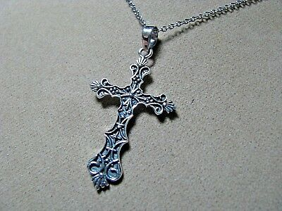 Sterling Silver Ornate Vintage Design Cross Pendant With Chain