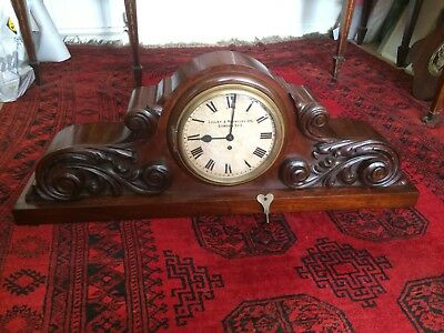 Very large carved mahogany clock, early 20th-century, Lilley & Reynolds on dial