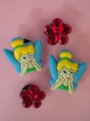Jibbitz Croc Clog Shoe Charms 4 pcs Tinker Bell  Flowers  Fit Bracelets Belts