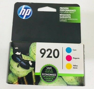 NEW Genuine HP 920 Color Ink Cartridges,C/M/Y Combo Pack EXP 2/2019+