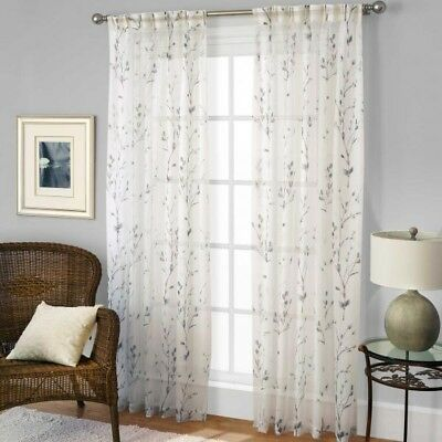 "Willow Pinch Pleat 29""W x 95""L,1 Sheer Back Tab Curtain Panel in Blue"