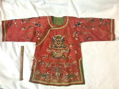 Antique Chinese Rare Child's Embroidered Red Silk Robe