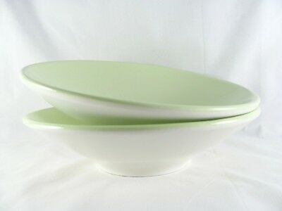 """2 Pottery Barn Alysse Green Bowls, 9-1/4"""", footed, pasta, soup, Italy"""