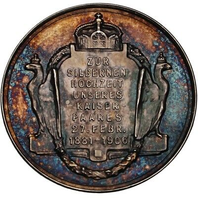 100372 | Germany 1906 Royal Wedding Silver Medal Rainbow Toned Proof Marriage