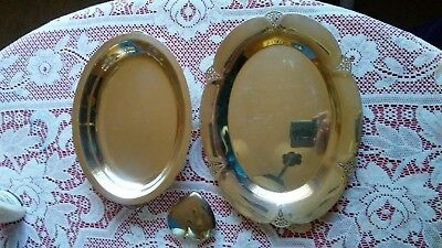 Vintage Wm Rogers 411 Silverplate Dish Tray Lot of 2 Ornate Trim Handles