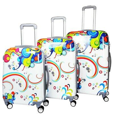 Reisekoffer QTC World COLOURFUL mit TSA-Schloss Koffer Hartschale Trolley Case