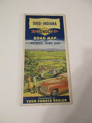 Vintage Sunoco Ohio Indiana Oil Gas Service Station Travel Road Map~1940 Census