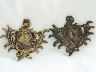 Pair of Antique ORNATE VICTORIAN Brass Keyhole Cover Plates