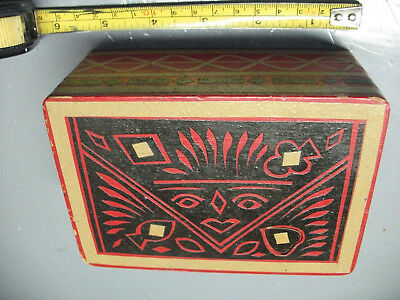Wooden  Aztec  Box   Case  For  Double  Deck  Playing  Cards  Vintage Original