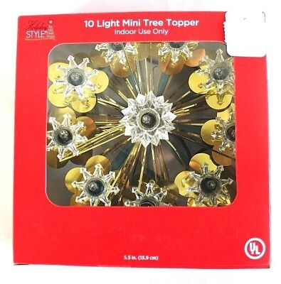 10 Light Christmas Tree Topper Star Gold Tinsel Clear Holiday 5.5 in. NIB