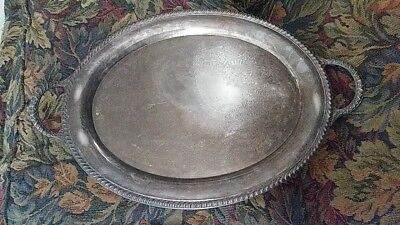 "Antique Art Deco Wm Rogers Silver Plated 24"" Oval Butlers Serving Tray w/Handles"