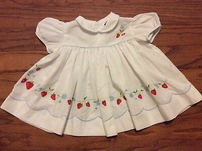 Vintage Nannette Baby Dress white with Embroidered Strawberries