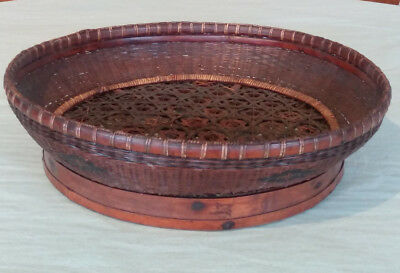 Antique Chinese Bamboo Flat Round Woven Basket with Star Pattern Open