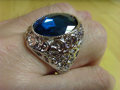 Womens Turkish Ottoman Style Sapphire Ornate Silver Cocktail Statement Ring,12