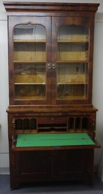 Butler's Desk mahogany Circa 1880's 4 doors (2 glass) pull out drawer