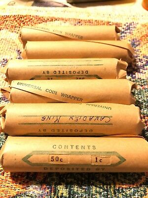 Rolls Of Canadian King & Queen Roll Of 50 1 Cent Rolls