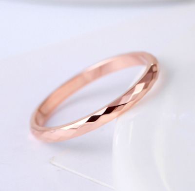 18KGP Rose Gold Stainless Steel 316L Diamond-cut Faceted Ring and Band 2mm