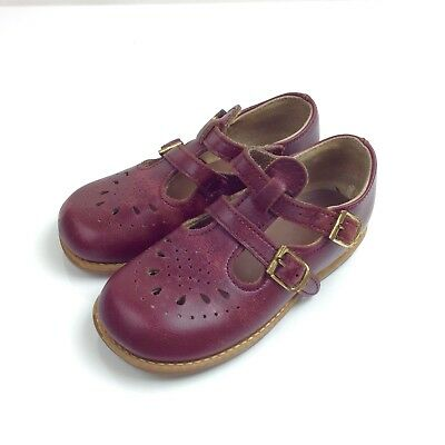 Vintage Toddler Shoes Size 7 Leather Red Double T Strap Buckle Mary Janes