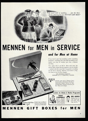 1940 Vintage Print Ad MENNEN  gift boxes illustration military men art