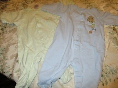 LOT OF 2  Baby Boys  PJ's One Piece Long Sleeve size 0-3 mo